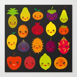kawaii fruit Pear Mangosteen tangerine pineapple papaya persimmon pomegranate lime Canvas Print