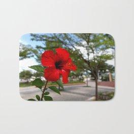 Red Flower Bloom Bath Mat
