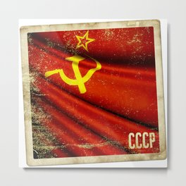 Sticker of Soviet Union (1922-1991) flag Metal Print