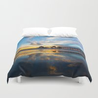 calendars Duvet Covers featuring Sunset ~ Huntington Beach Pier CA  11/7/13 by John Minar Fine Art Photography