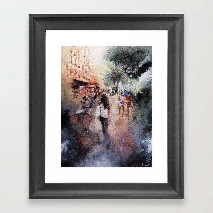 Promenade rue Saint-Martin - Paris painting Framed Art Print