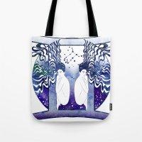 gemini Tote Bags featuring Gemini by Stevyn Llewellyn
