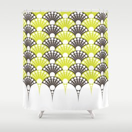 brown and lime art deco inspired fan pattern Shower Curtain