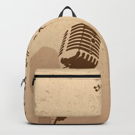 Retro microphone with grunge music concept Backpack