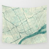 detroit Wall Tapestries featuring Detroit Map Blue Vintage by City Art Posters