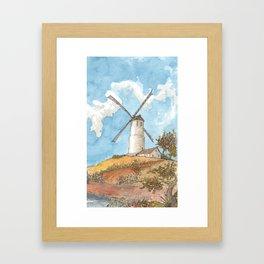 Windmill Against a Blue Sky Framed Art Print