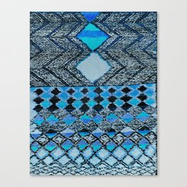 V32 Boho Blue Traditional Moroccan Carpet. Canvas Print