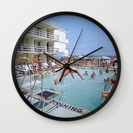 Rio Motel Pool with Trampolines. A 1960's photograph. Wildwood, New Jersey Wall Clock