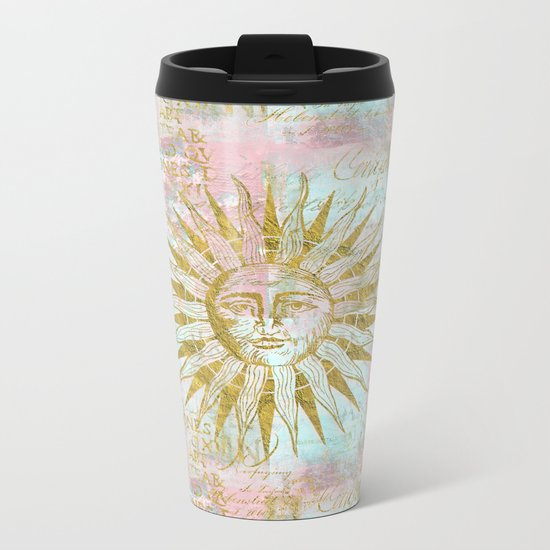 Golden Sun elegant vintage pattern Metal Travel Mug
