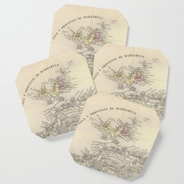 Vintage Map of Margarita Province (1850) Coaster