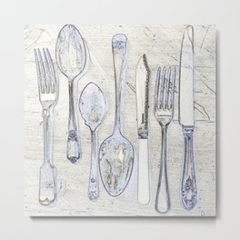 Classic Silverware Blue and Cream Metal Print