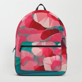 Vintage Pink Peony Low Poly Geometric Art  Backpack