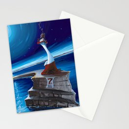 Ogden Point Beacon at Night Stationery Cards