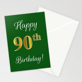 """Elegant """"Happy 90th Birthday!"""" With Faux/Imitation Gold-Inspired Color Pattern Number (on Green) Stationery Cards"""