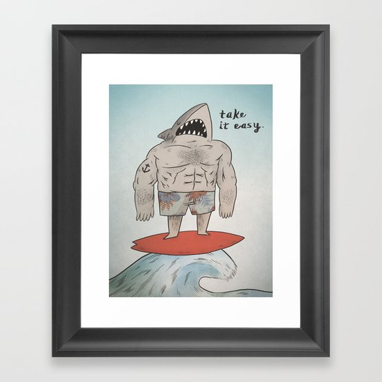 Surf Shark Framed Art Print