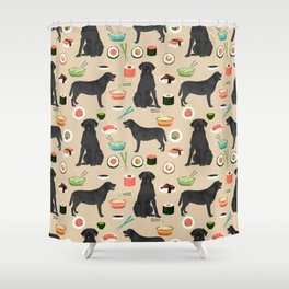 black lab sushi cute funny dog breed pet pattern labrador retriever Shower Curtain