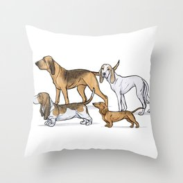 Nosy Scenthounds Throw Pillow