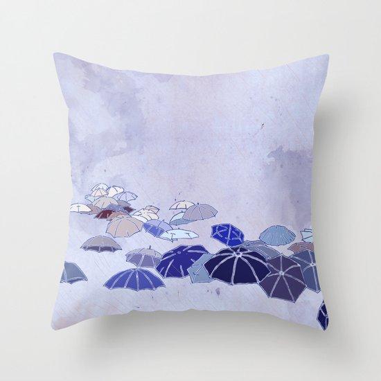 Rainy day blues Throw Pillow
