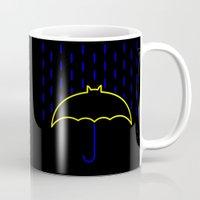 gotham Mugs featuring Rainy Gotham by luis pippi