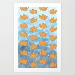 Cute Repeating Gold Fish Art Print