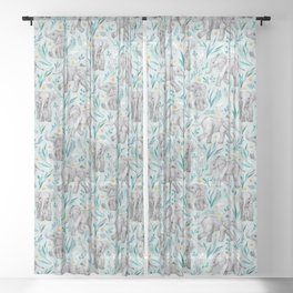 Baby Elephants and Egrets in Watercolor - egg shell blue Sheer Curtain