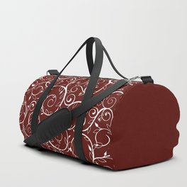 Floral Vines and buds (Maroon_white) Duffle Bag