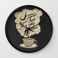 kitchen Wall Clocks featuring Some Hot Tea For My Hottie by Laura Graves