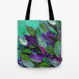BLOOMING BEAUTIFUL 1 - Floral Painting Mint Green Seafoam Purple White Leaves Petals Summer Flowers Tote Bag
