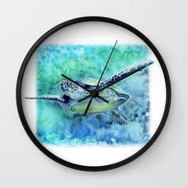 Swimming Turtle In Watercolor Wall Clock