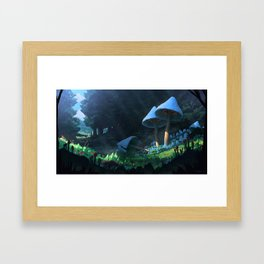 Magic mushroom forest Framed Art Print