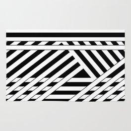 Black and white binding Rug
