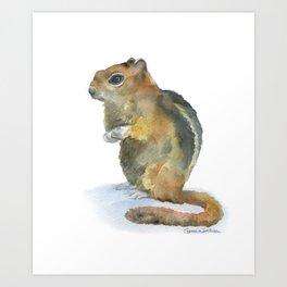 Chipmunk Watercolor Painting Art Print