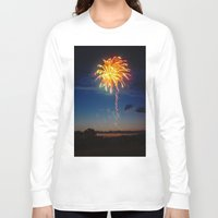 minnesota Long Sleeve T-shirts featuring Minnesota Fireworks by Justine Joy