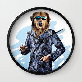 Smoking Dog Pepe Psyche Wall Clock