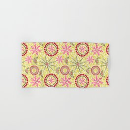 Birds and Flowers Mosaic - Yellow, green and pink Hand & Bath Towel