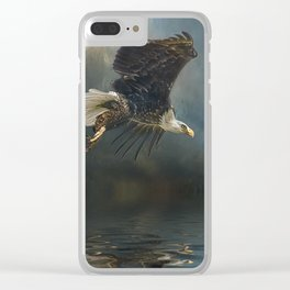 Bald Eagle Fishing Clear iPhone Case