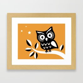 Cute Night Owl Illustration Framed Art Print