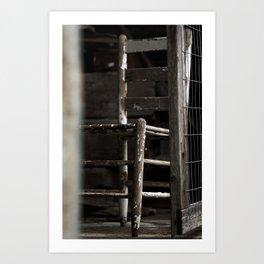 Old Farm Barn Chair Art Print