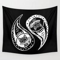 ying yang Wall Tapestries featuring Ying Yang - Fox Nerd by Adamzworld