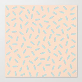 Memphis Bacteria Pattern Pastel Colors Peach Baby Blue Canvas Print