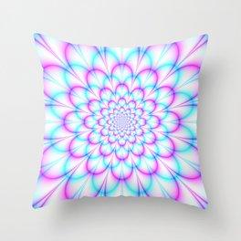 Pastel Chrysanthemum in Pink and Blue Throw Pillow