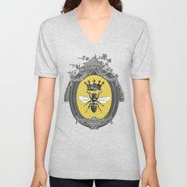 Queen Bee | Vintage Bee with Crown | Honeycomb | Unisex V-Neck
