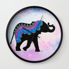 """Ahimsa"" - Patterned Elephant Wall Clock"