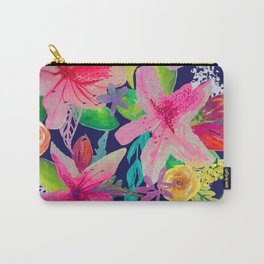 Neon Azeleas // Navy Carry-All Pouch