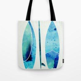 Blue Watercolor Surfboards Tote Bag