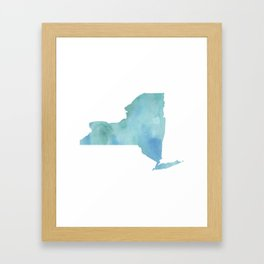 Watercolor State Map - New York NY blue greens Framed Art Print