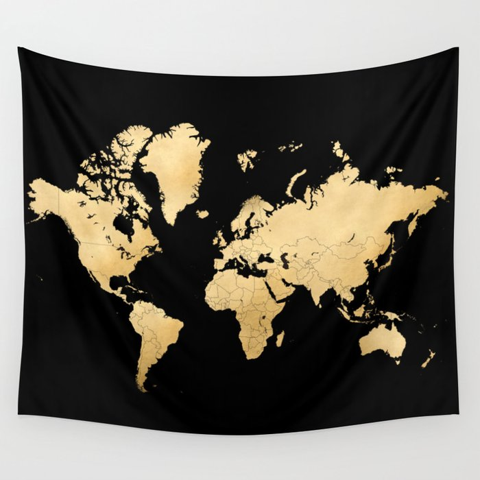 Sleek Black And Gold World Map Wall Tapestry By Blursbyaishop Society6