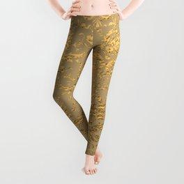 Gold Metallic Damask Beige Leggings