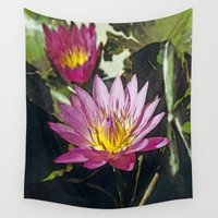 lily Wall Tapestries featuring Water lily by Maria Heyens