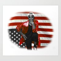asap rocky Art Prints featuring ASAP Rocky American Flag by JuanTon